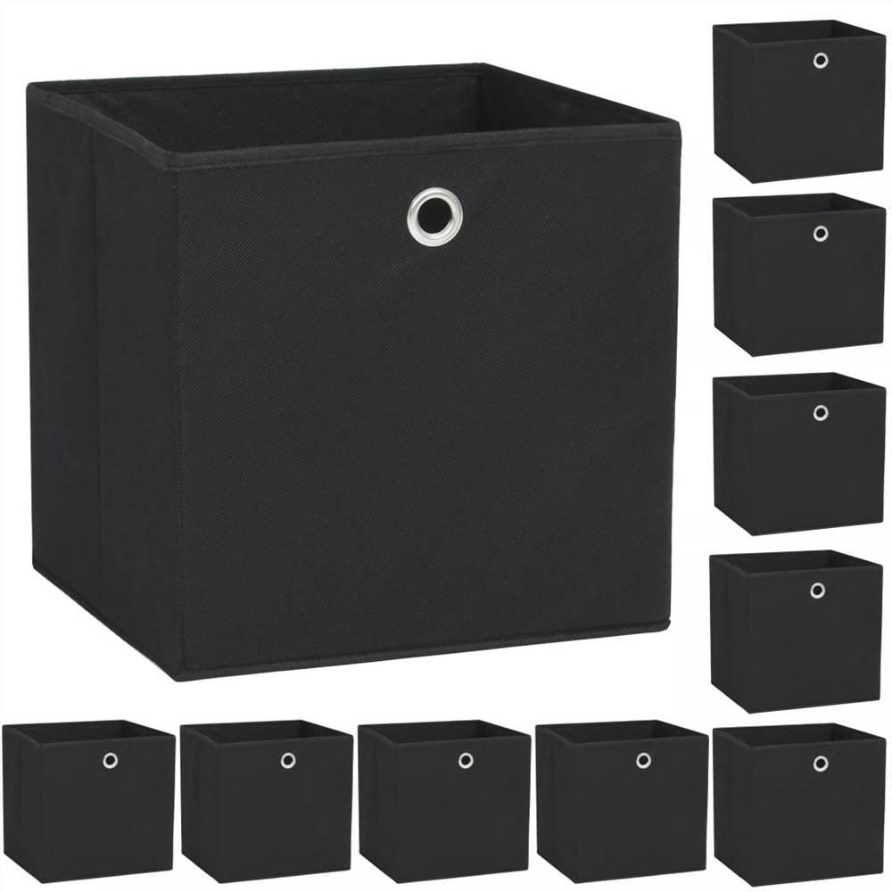 Boîtes de rangement 10 pièces Tissu non tissé 32x32x32 cm Noir