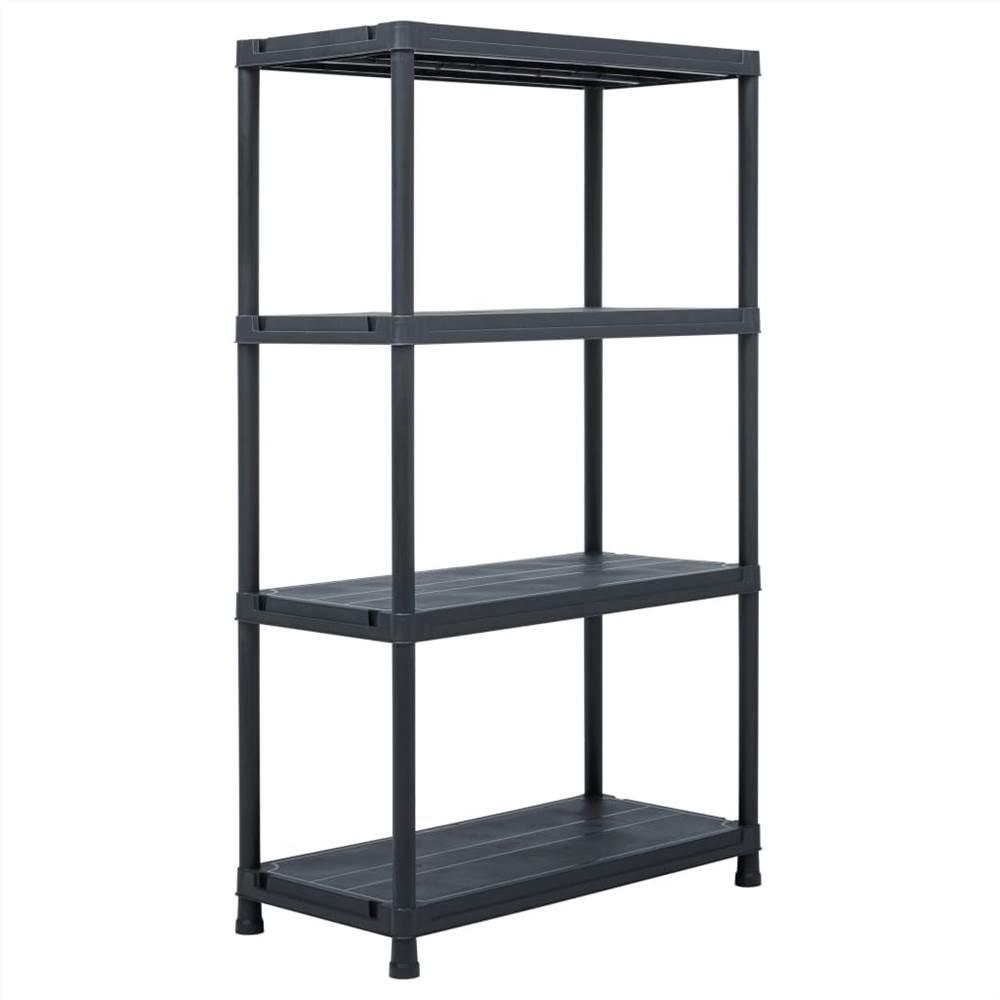Storage Shelf Rack Black 200 kg 80x40x138 cm Plastic