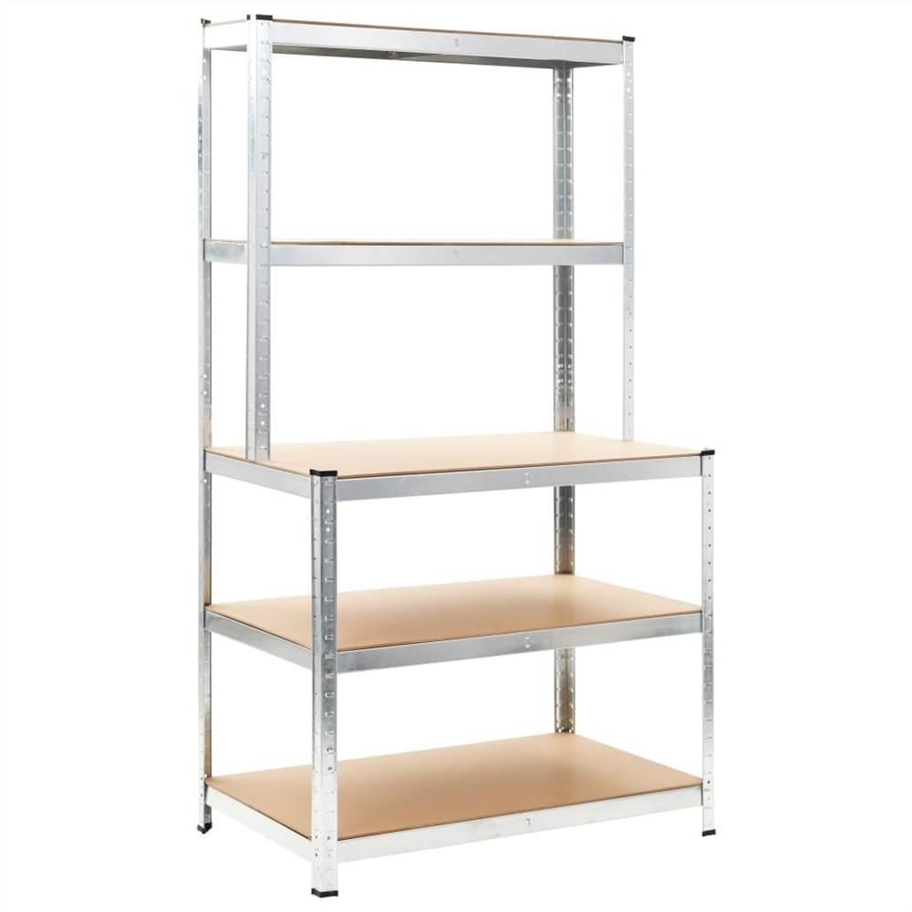 Storage Shelf Silver 100x60x180 cm Steel and MDF