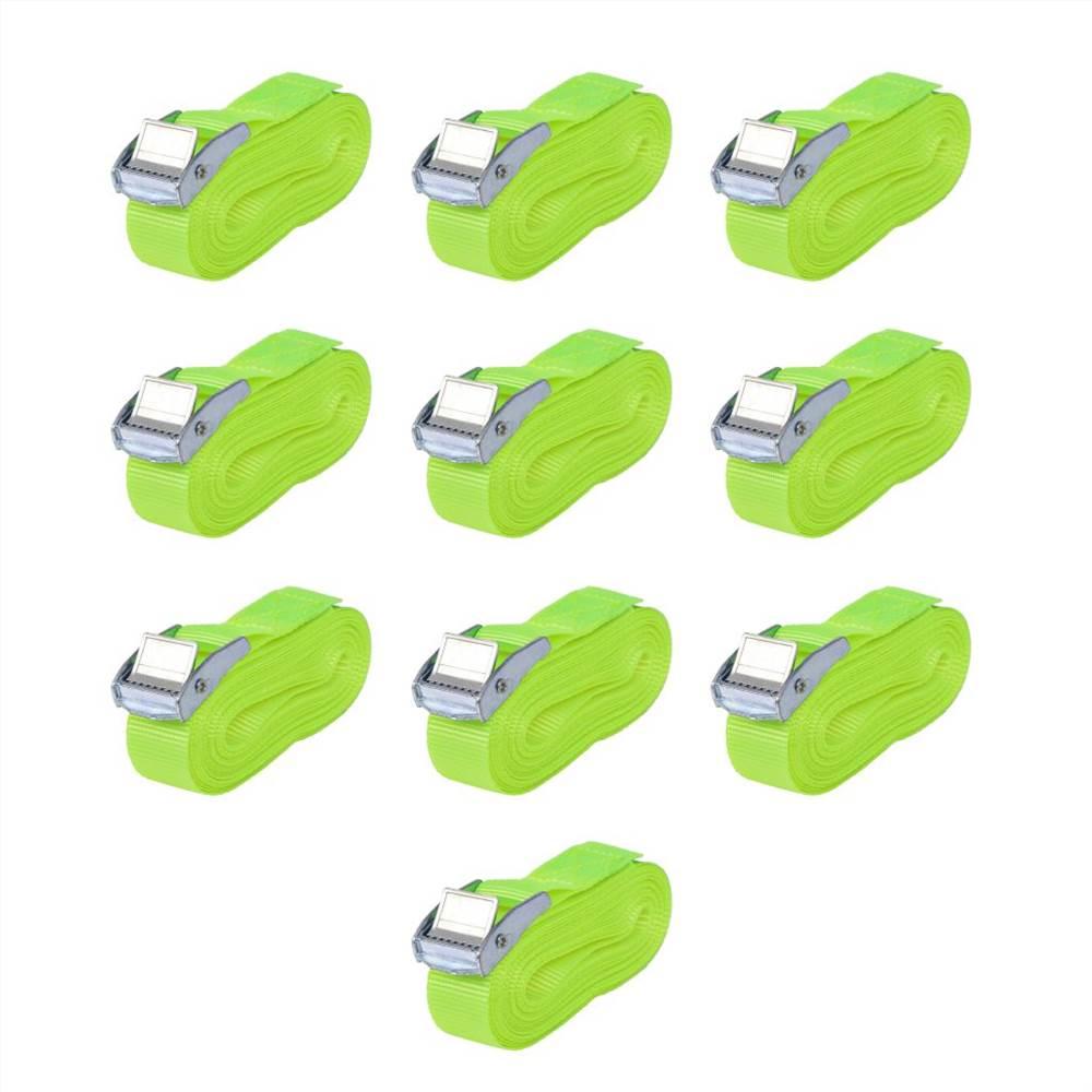 Correas 10 pzs 0.25 Toneladas 5mx25mm Verde Fluorescente