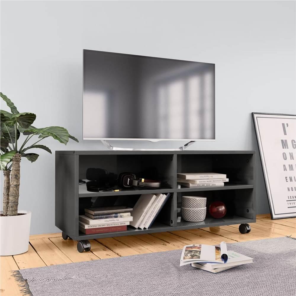 TV-Schrank mit Rollen Hochglanzgrau 90x35x35 cm Spanplatte