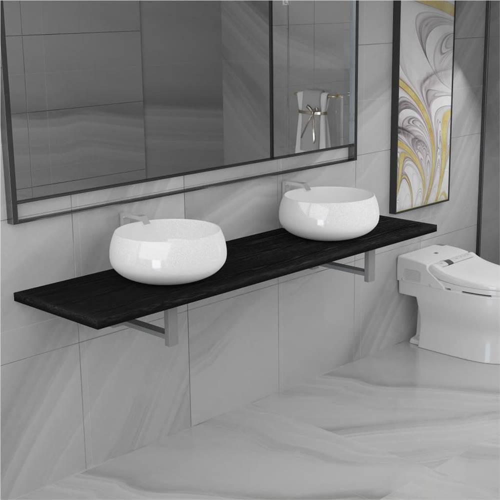 Ensemble de trois meubles de salle de bain en céramique noir