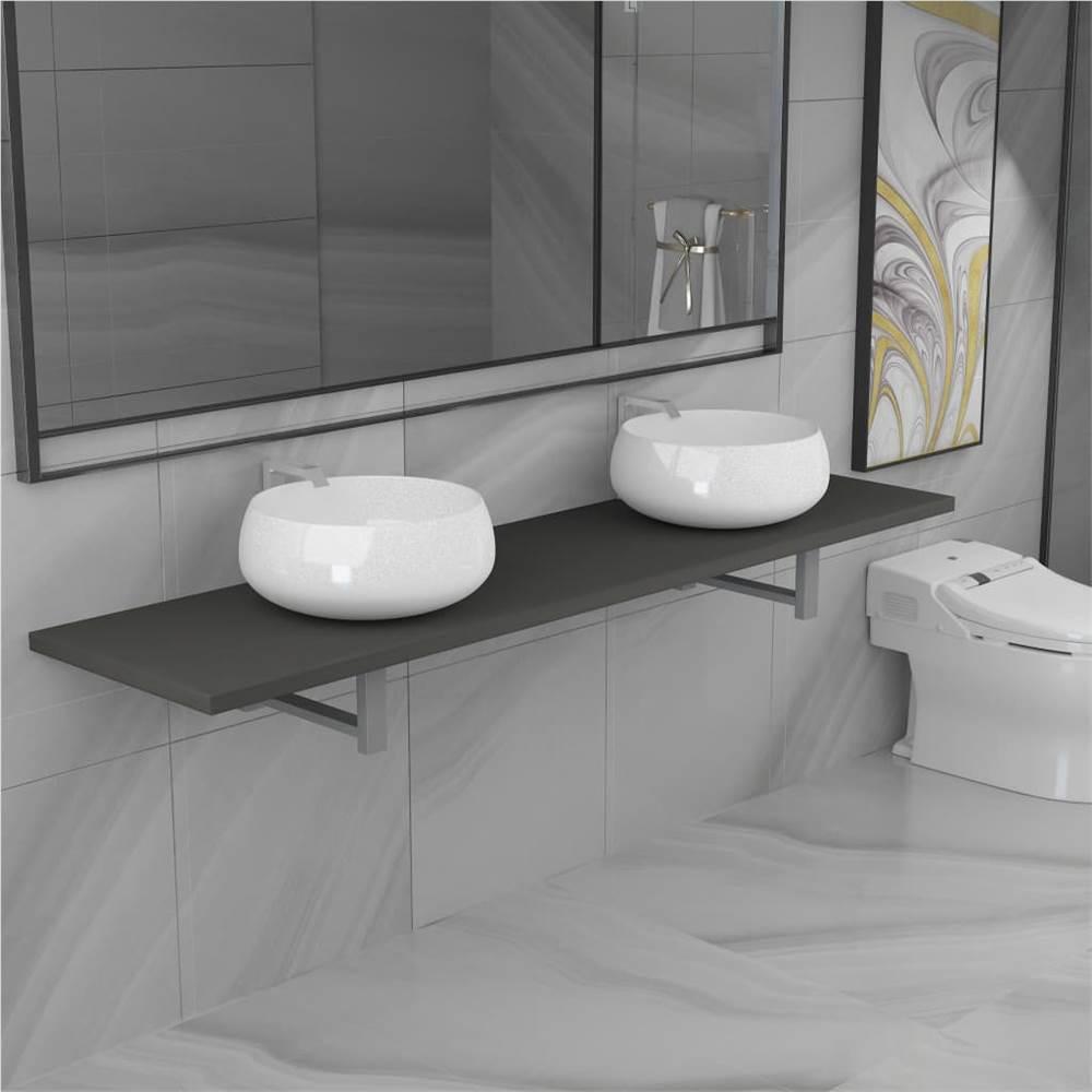 Ensemble de trois meubles de salle de bain en céramique gris