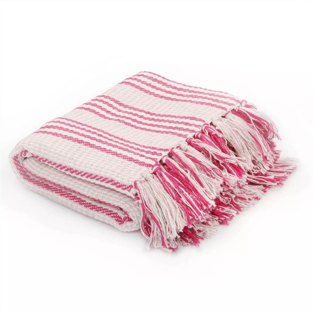 Ρίξτε Βαμβάκι Ρίγες 220x250 cm Ροζ και Λευκό