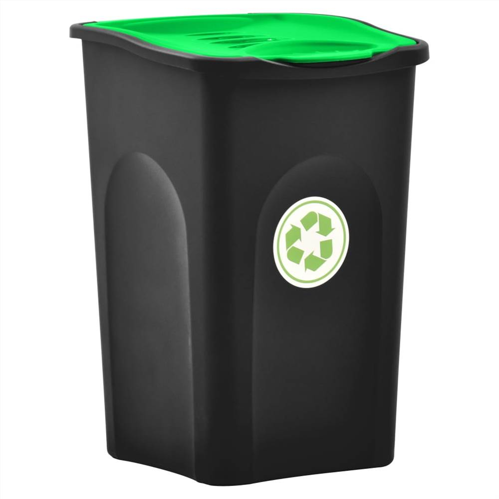 Trash Bin with Hinged Lid 50L Black and Green
