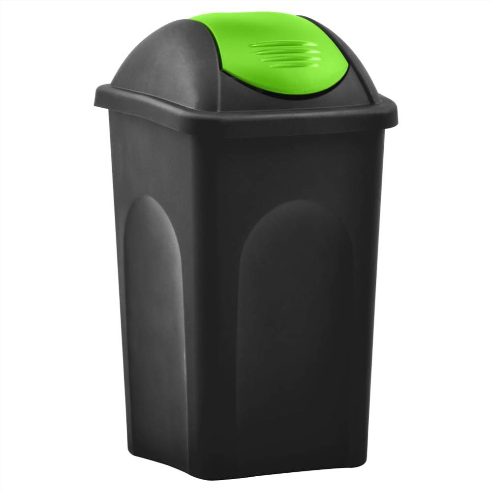 Trash Bin with Swing Lid 60L Black and Green