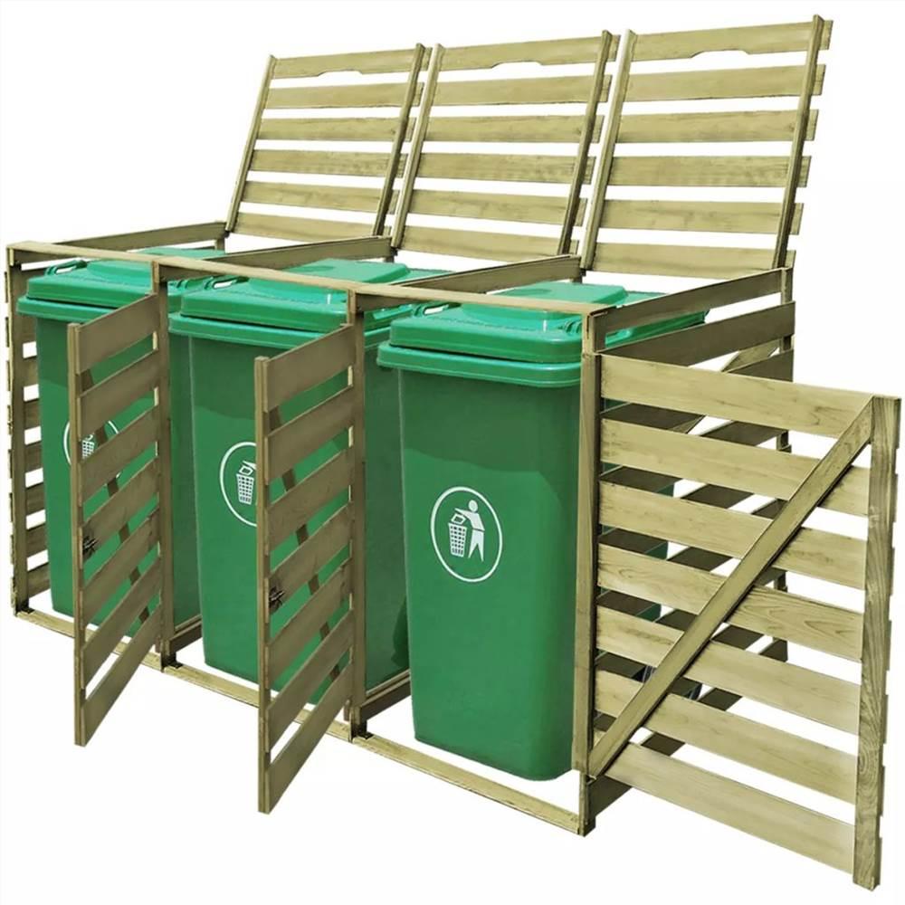 Triple Wheelie Bin Shed 240 L εμποτισμένο ξύλο