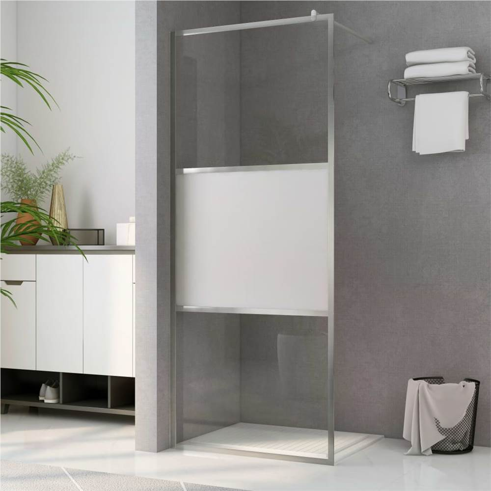 Walk-in Shower Wall with Half Frosted ESG Glass 90x195 cm