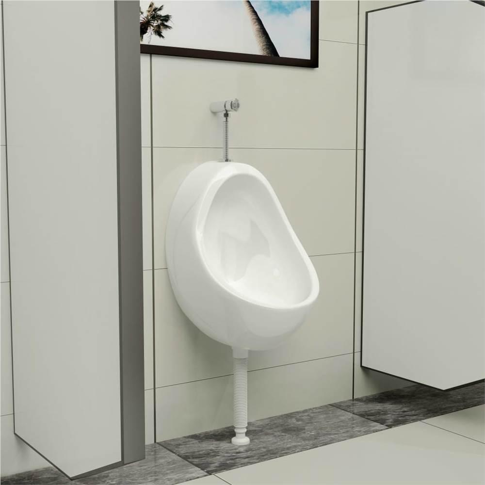 Wall Hung Urinal with Flush Valve Ceramic White