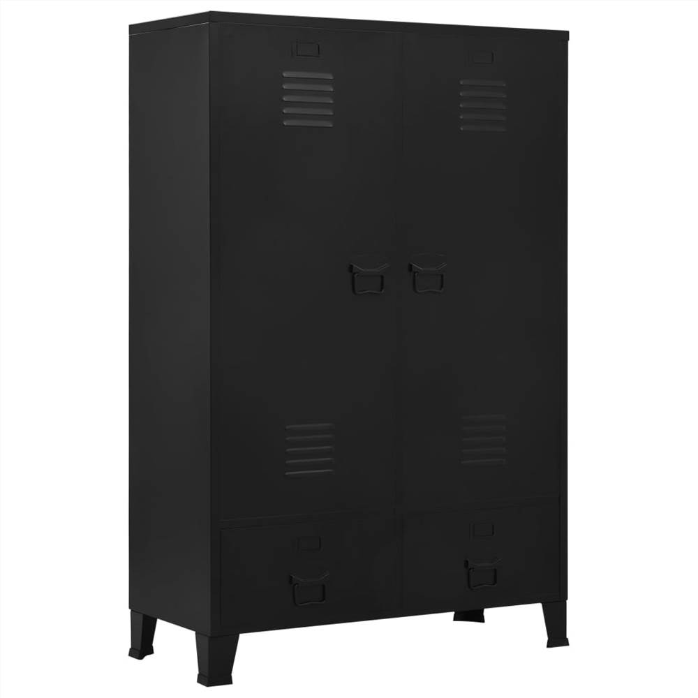 Wardrobe Industrial Black 90x40x140 cm Steel