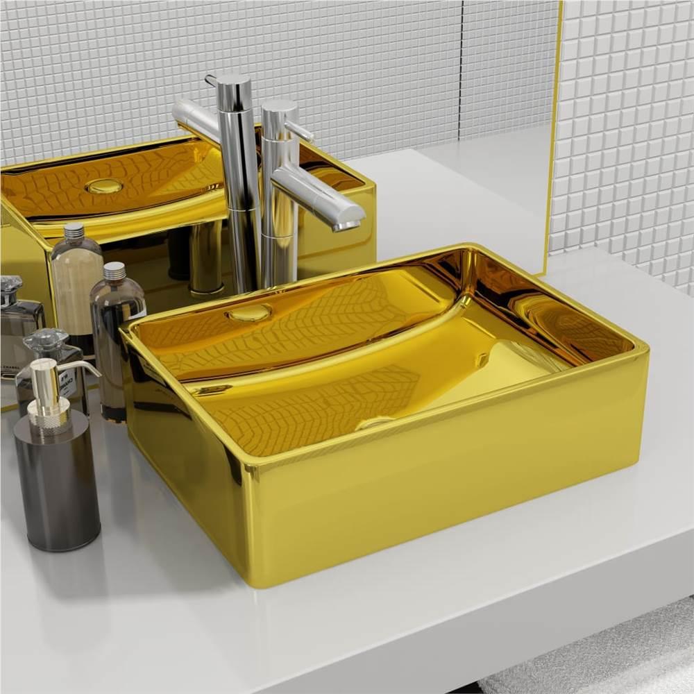 Wash Basin 41x30x12 cm Ceramic Gold
