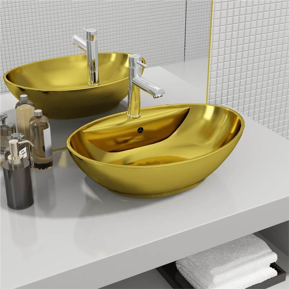 Lavabo con Troppopieno 58,5x39x21 cm Ceramica Oro