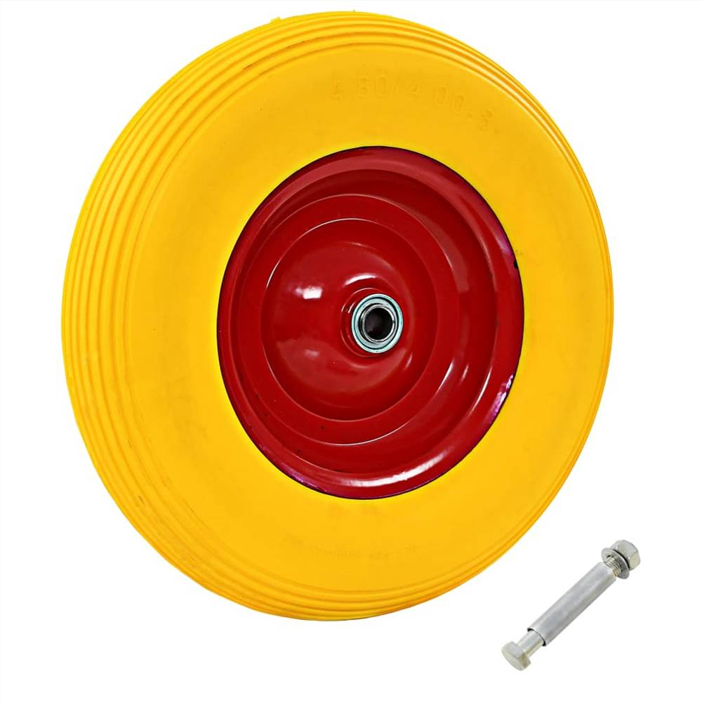 Roue de brouette avec essieu solide PU 4.00-8 390 mm