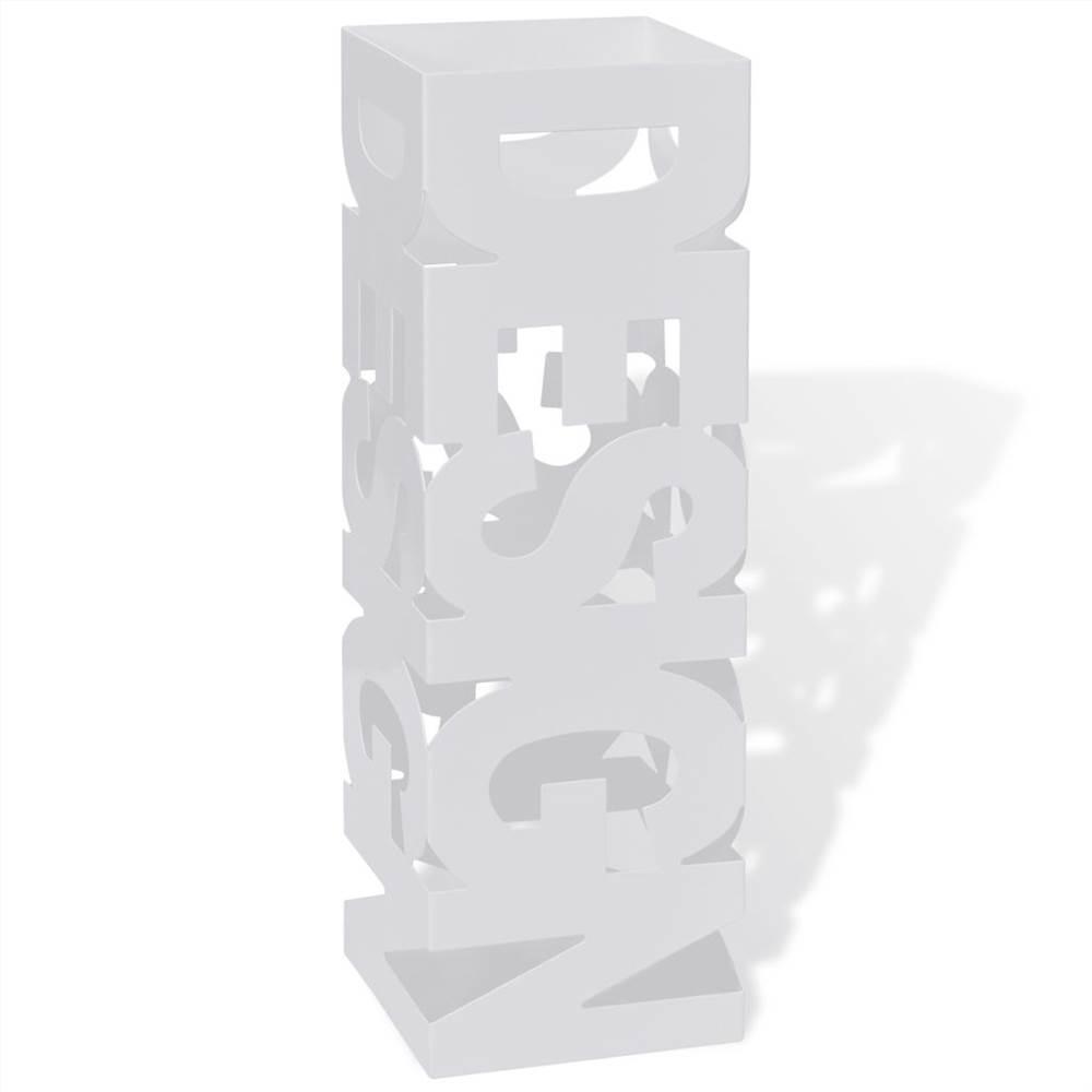 Support de rangement pour porte-parapluies carré blanc en acier 48.5 cm