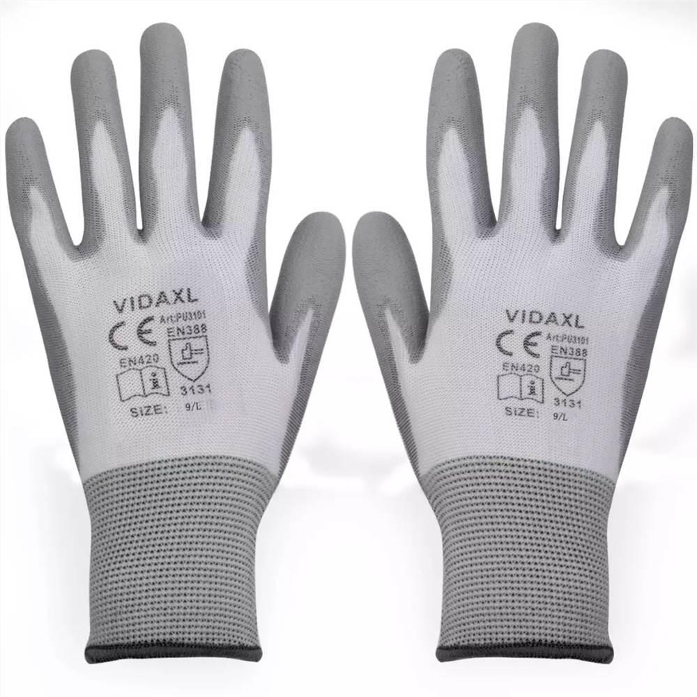 Gants de travail PU 24 paires blanc et gris taille 9 / L