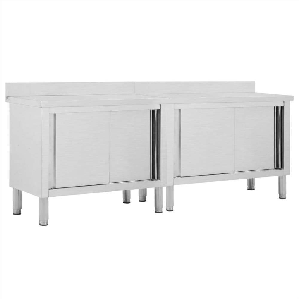 โต๊ะทำงานพร้อมประตูบานเลื่อน 2 ชิ้นสแตนเลส 240x50x95 ซม