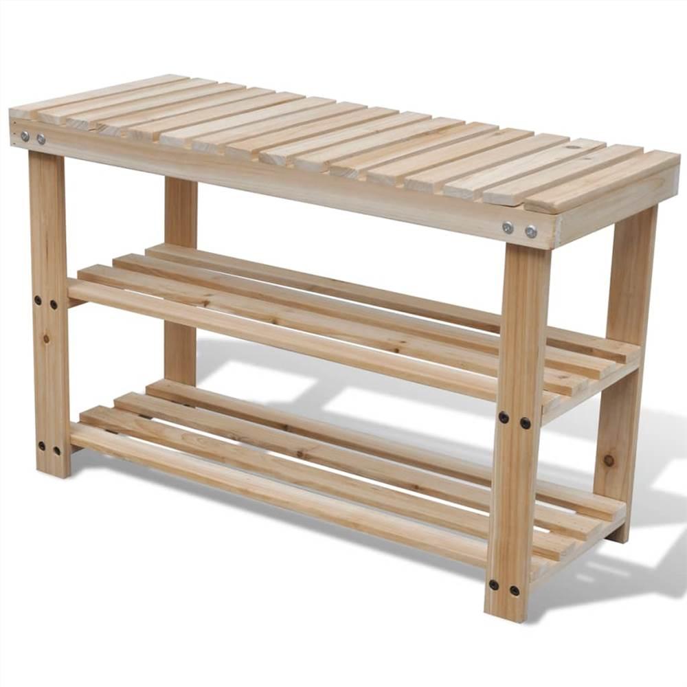 Étagère à chaussures 2 en 1 avec dessus de banc en bois de sapin massif