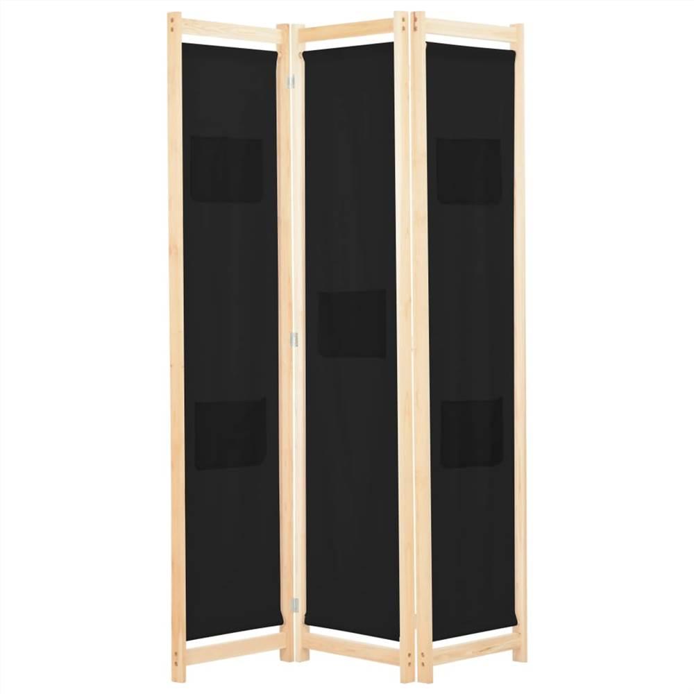 Séparateur de pièce à 3 panneaux en tissu noir 120x170x4 cm