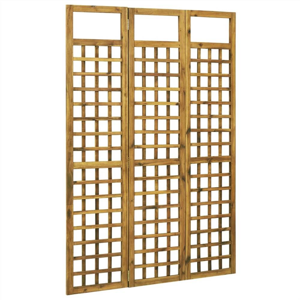 Cloison / treillis à 3 panneaux en bois d'acacia massif 120x170 cm