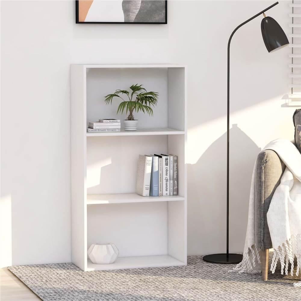 3-Tier Book Cabinet White 60x30x114 cm Chipboard