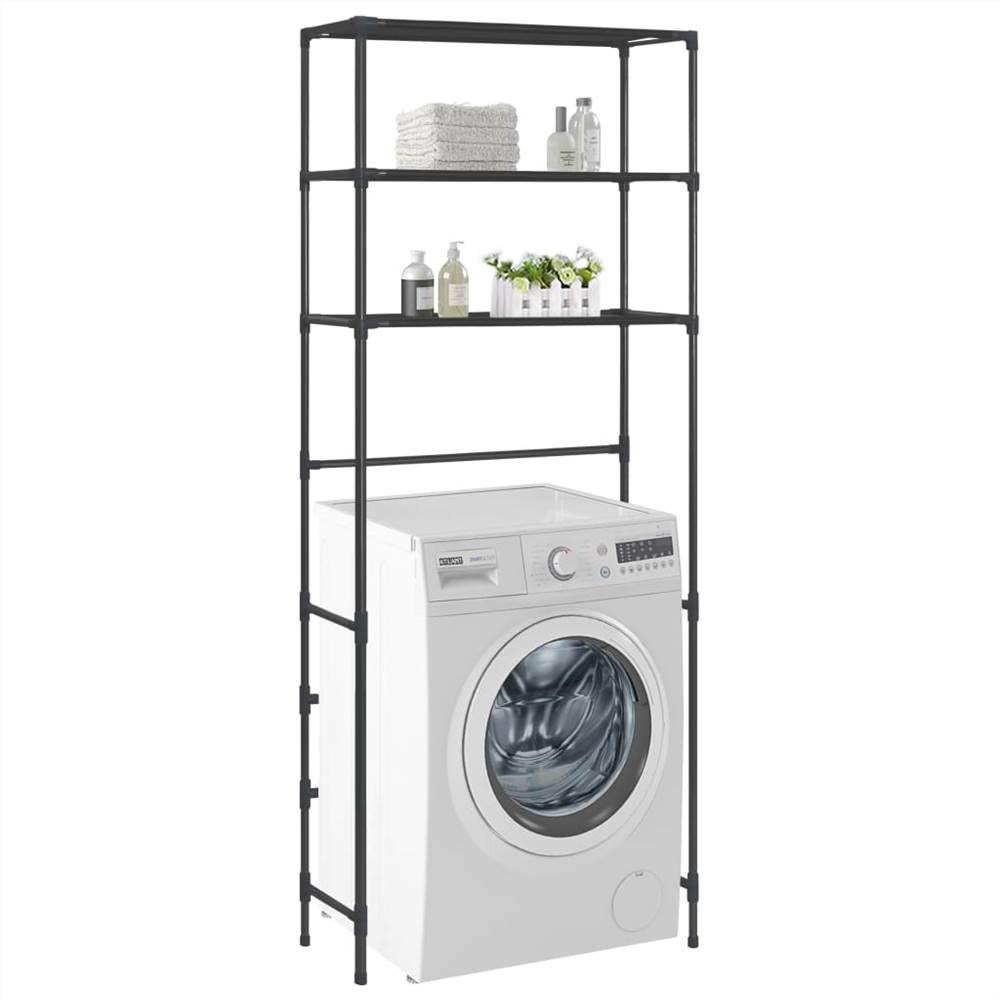 3-Tier Storage Rack over Laundry Machine Black 69x28x169 cm