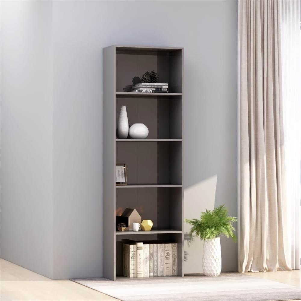 Armoire à livres à 5 niveaux gris brillant 60x30x189 cm aggloméré