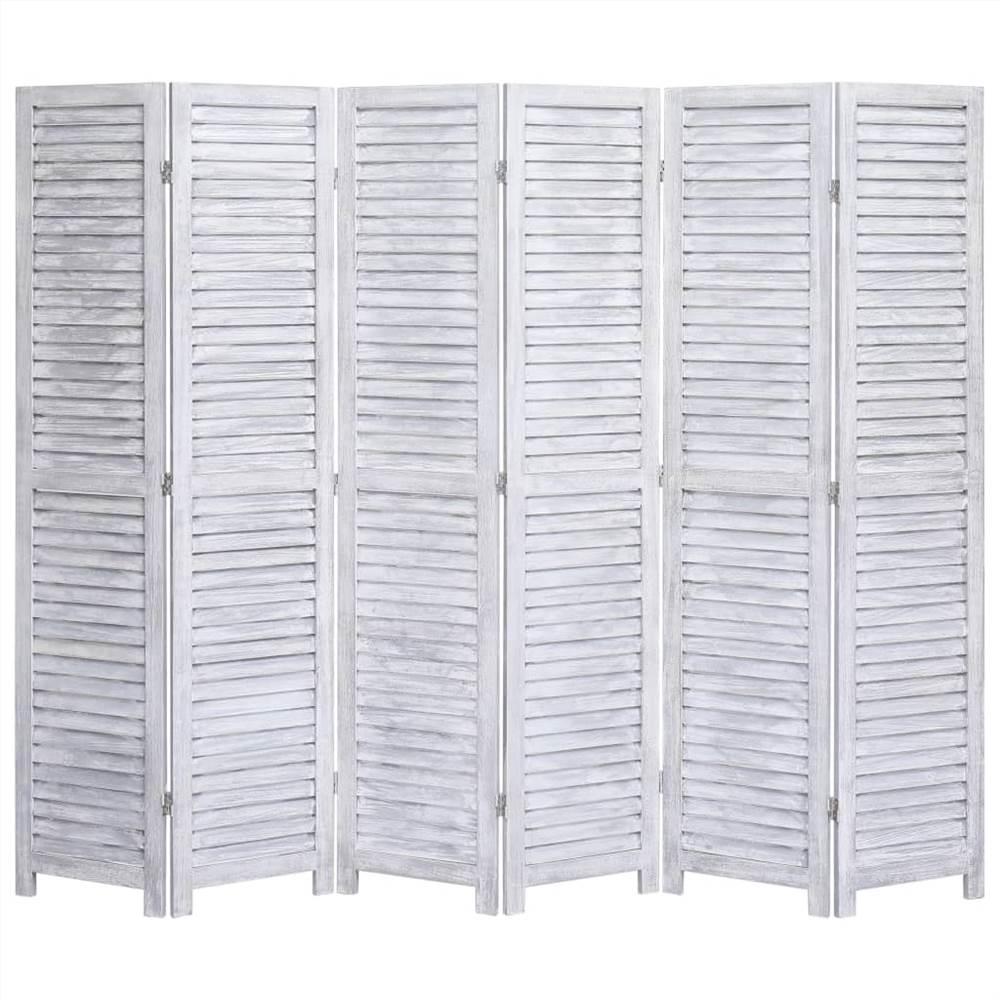 Cloison 6 panneaux Bois Gris 210x165 cm