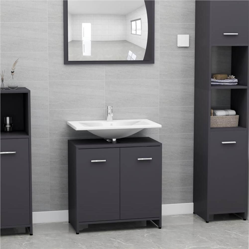 Bathroom Cabinet Grey 60x33x58 cm Chipboard