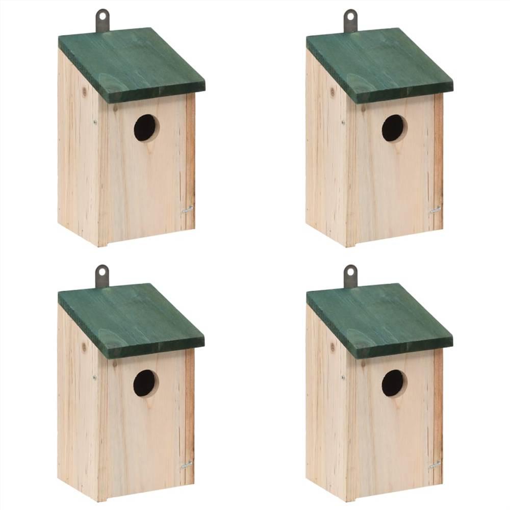 Casas de pássaros 4 unidades Madeira 12x12x22 cm