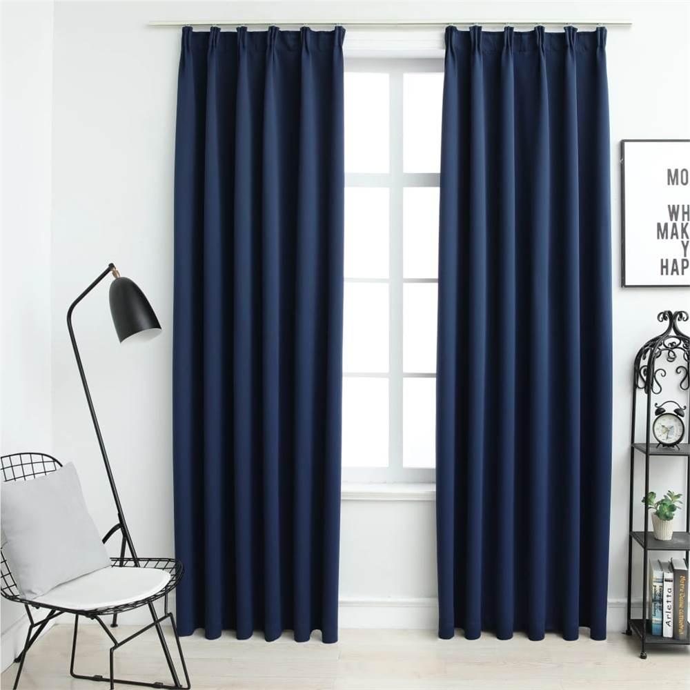 Blackout Curtains with Hooks 2 pcs Blue 140x175 cm