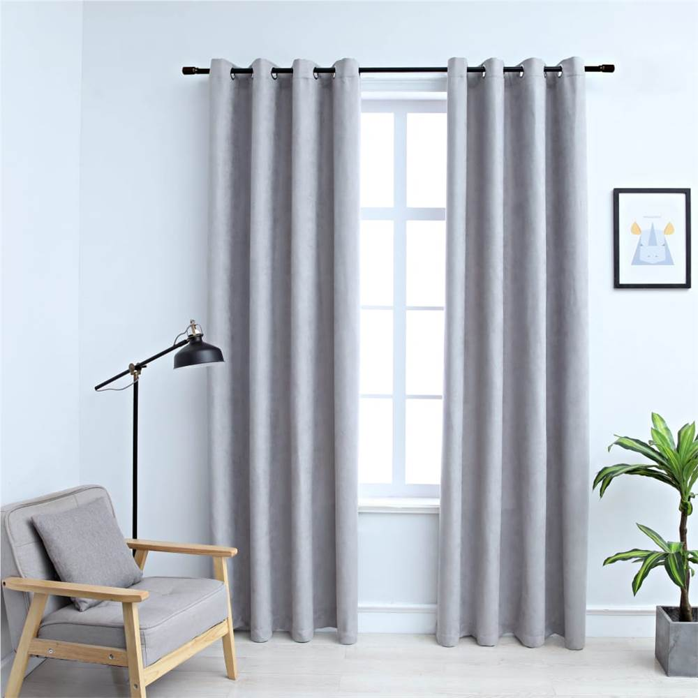 Blackout Curtains with Metal Rings 2 pcs Grey 140x225 cm