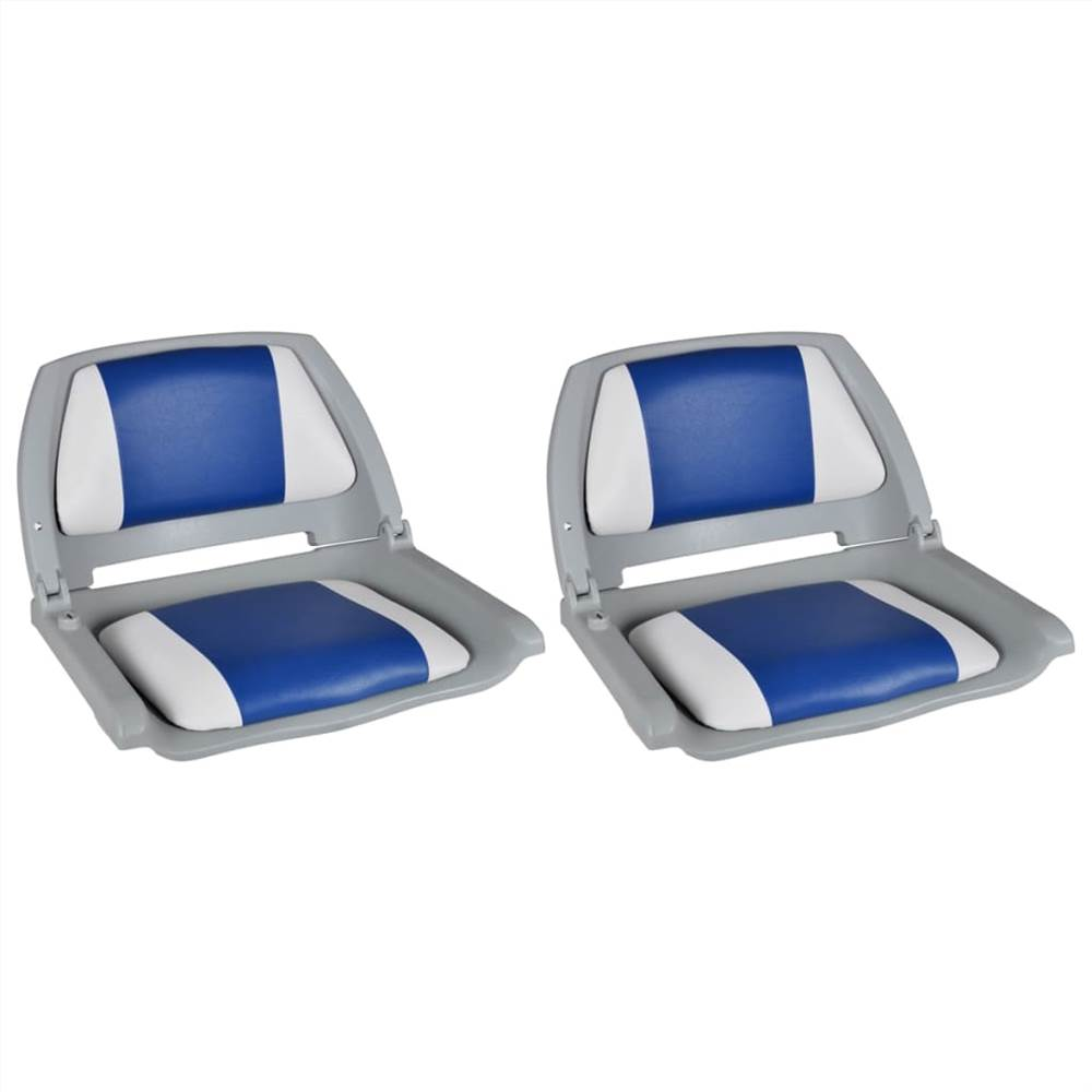Boat Seats 2 pcs Foldable Backrest Blue-white Pillow 41x51x48cm