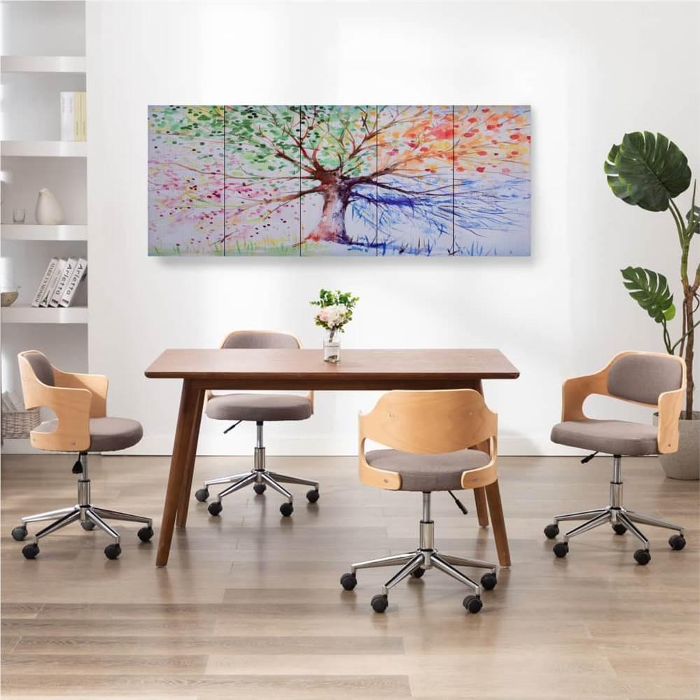 Canvas Wall Print Set Raining Tree Multicolour 150x60 cm