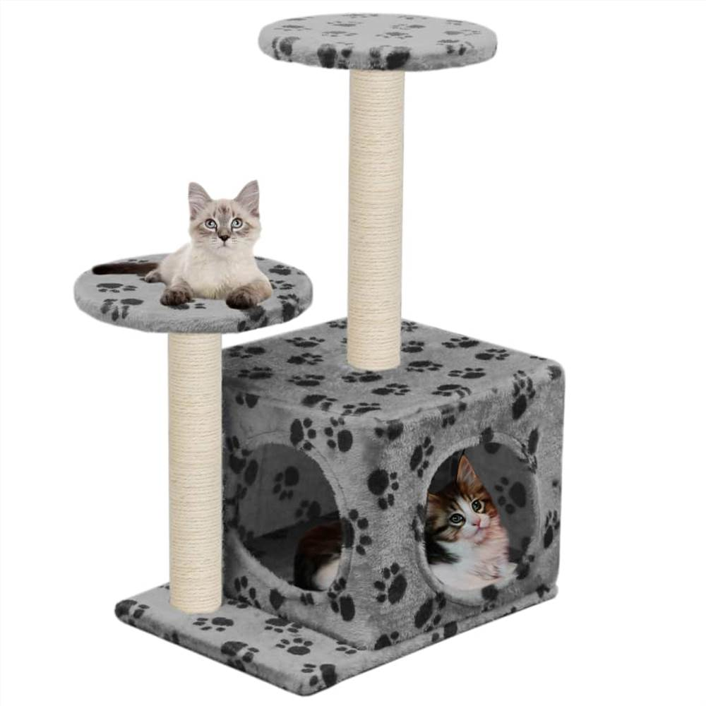 Cat Tree with Sisal Scratching Posts 60 cm Grey Paw Prints