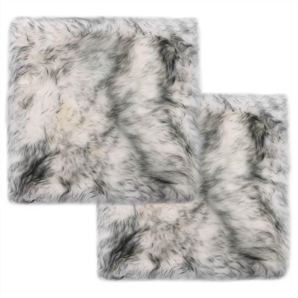 Almofadas para cadeiras 2 unidades cinza escuro melange 40x40 cm pele de carneiro genuína