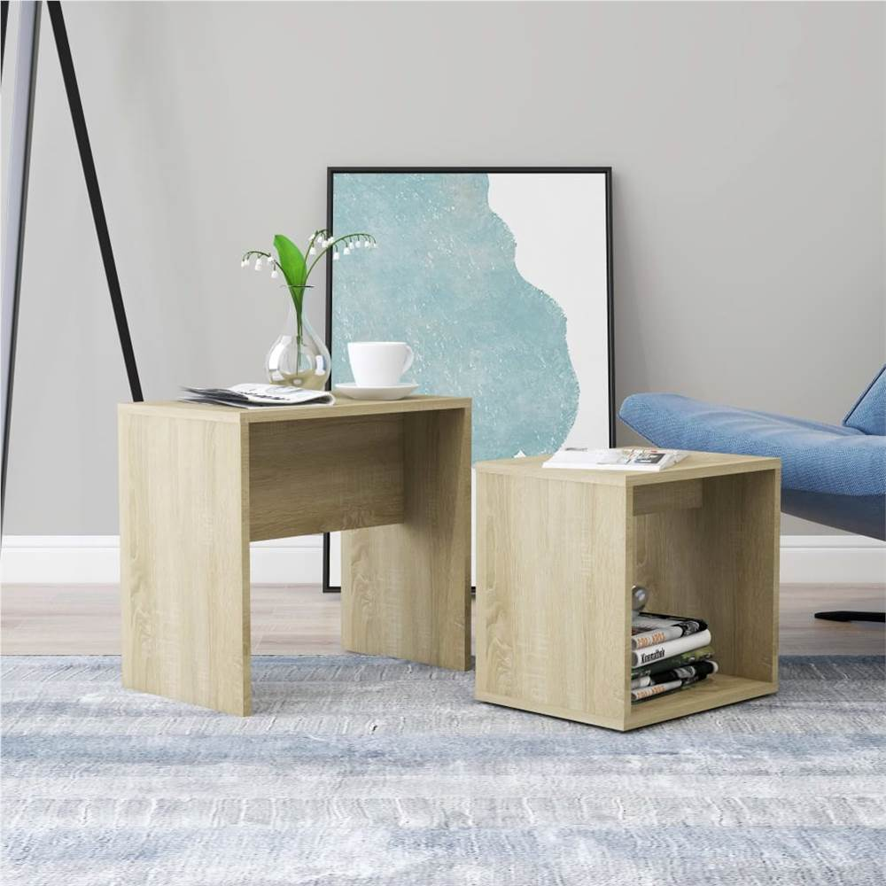 Coffee Table Set Sonoma Oak 48x30x45 cm Chipboard, Other  - buy with discount