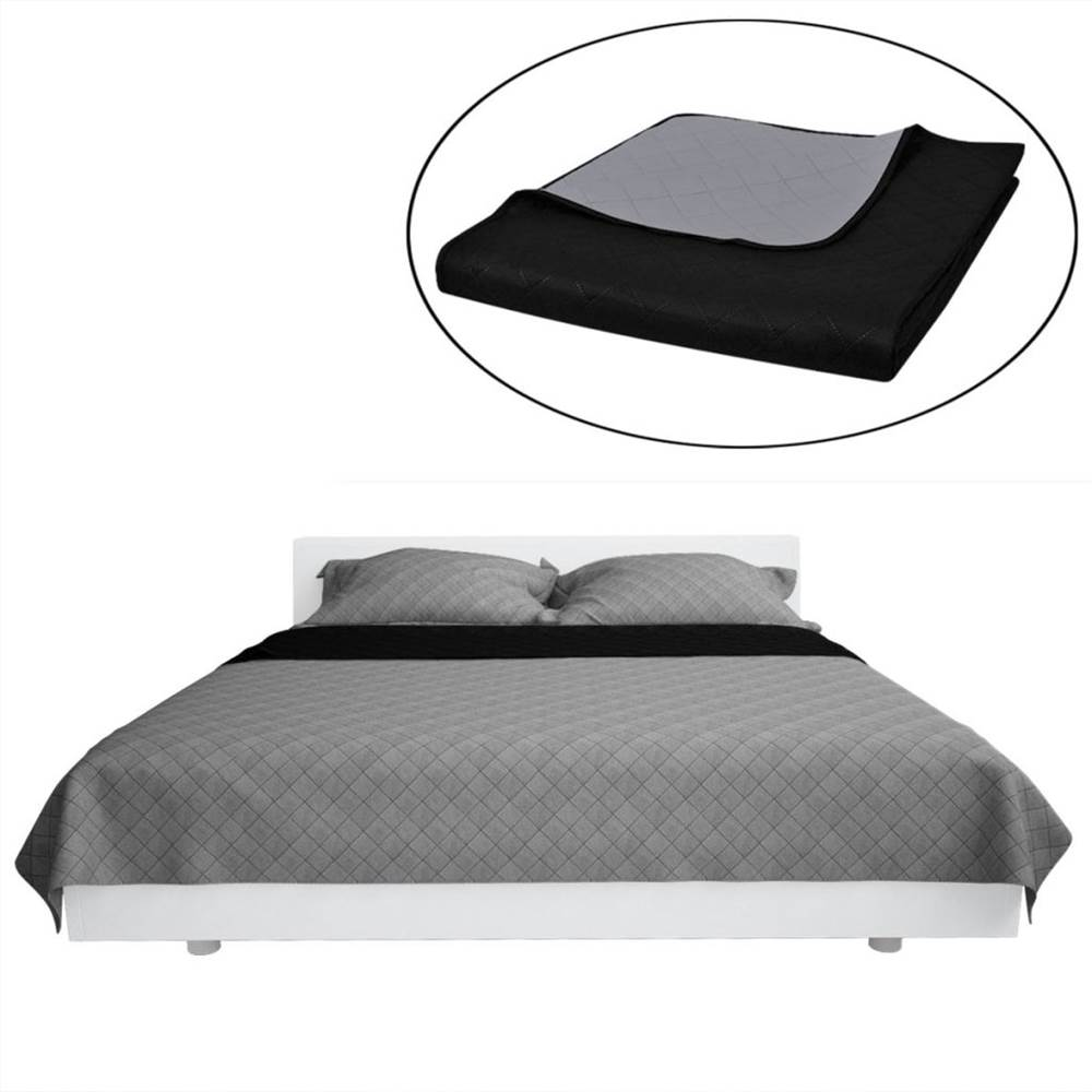 Double-sided Quilted Bedspread Black//White 220 x 240 cm