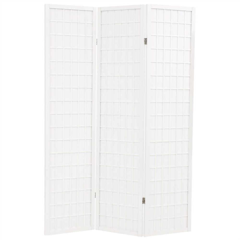 Cloison pliante à 3 panneaux Style japonais 120x170 cm Blanc