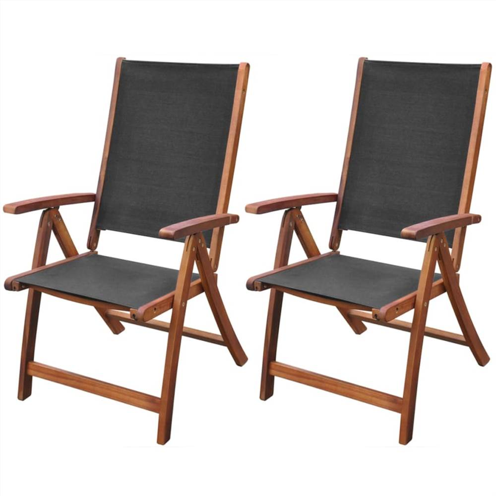 Folding Garden Chairs 2 pcs Solid Acacia Wood and Textilene