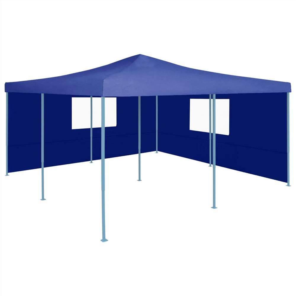 Folding Gazebo with 2 Sidewalls 5x5 m Blue