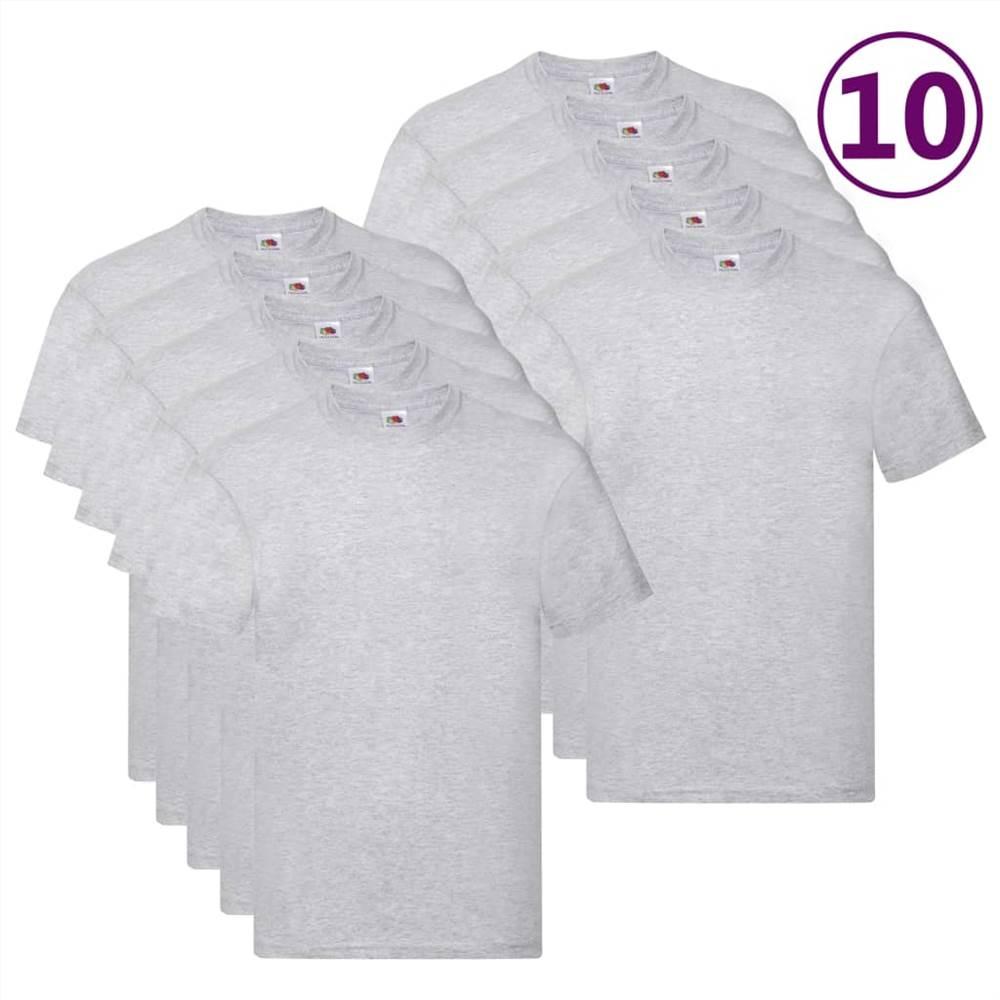 Fruit of the Loom T-shirts originaux 10 pièces Coton Gris 5XL