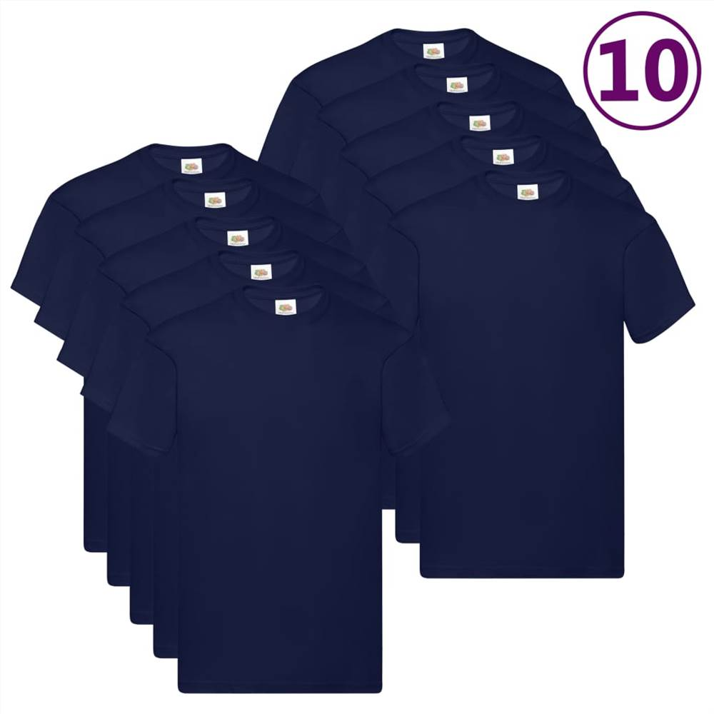 Fruit of the Loom T-shirts originaux 10 pcs Marine 4XL Coton