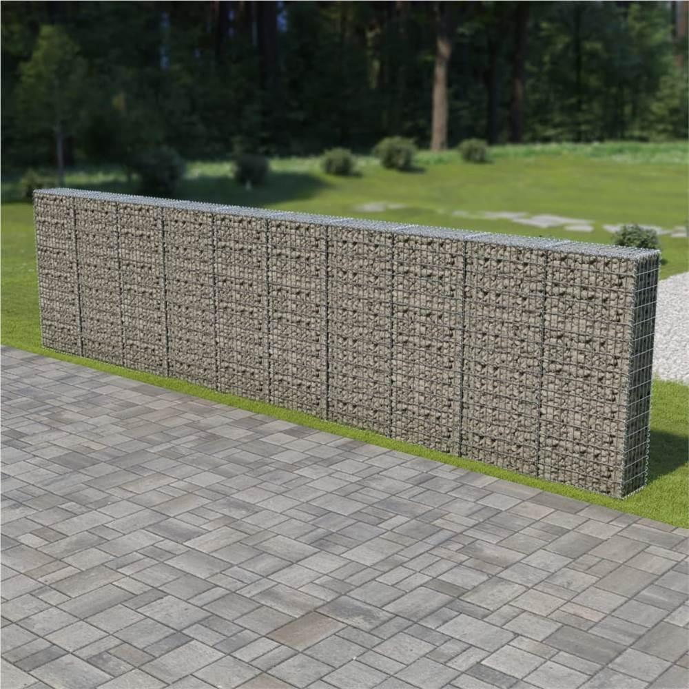 Mur de gabion avec couvercles en acier galvanisé 600x30x150 cm