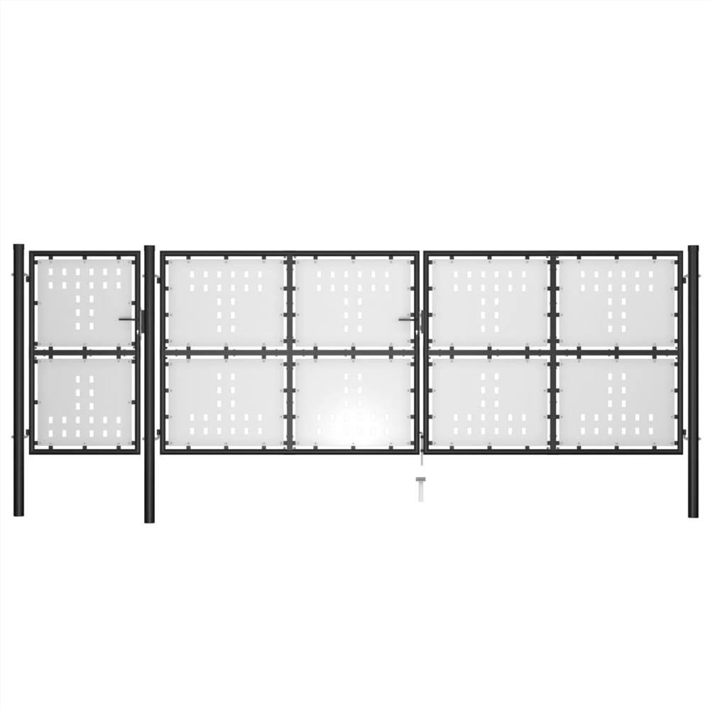 Garden Gate Steel 500x150 cm Black