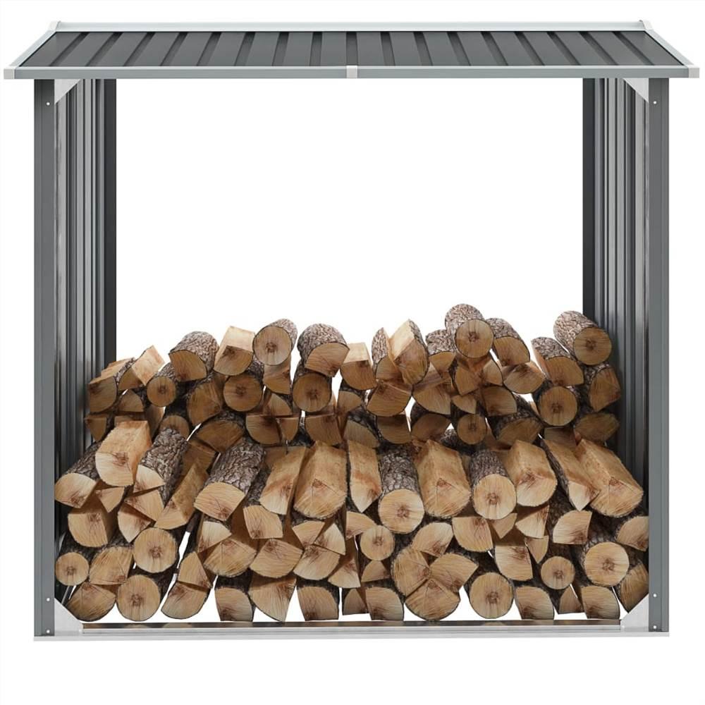 Garden Log Storage Shed Galvanised Steel 172x91x154 cm Grey