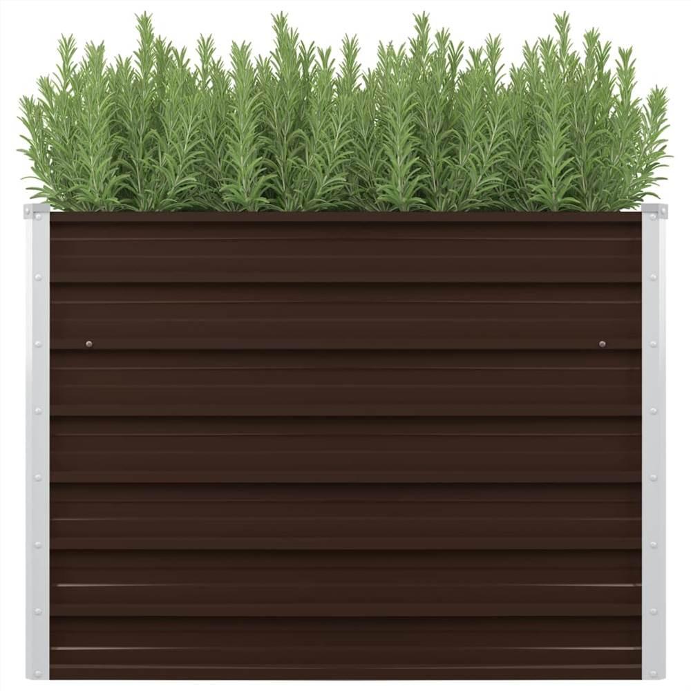 Garden Raised Bed Brown 100x40x77 cm Galvanised Steel