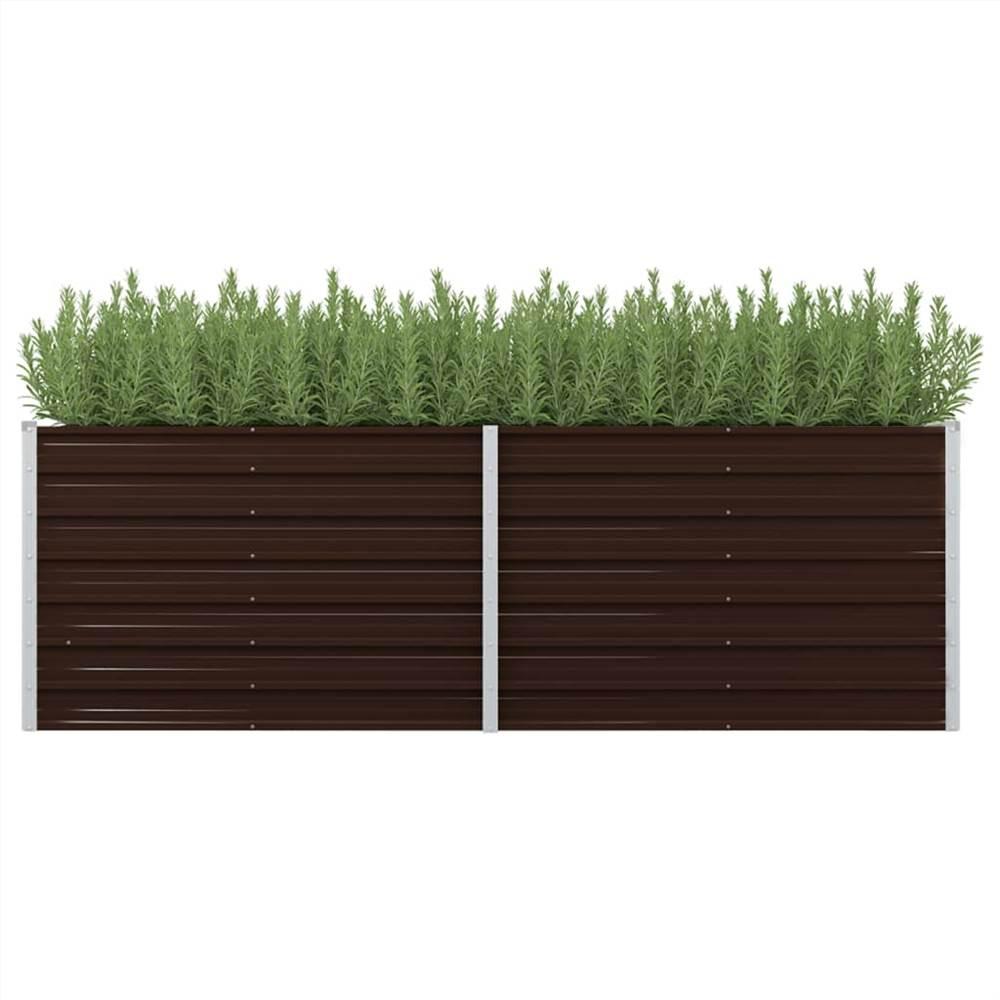 ガーデンレイズドベッドブラウン240x80x77cm亜鉛メッキ鋼