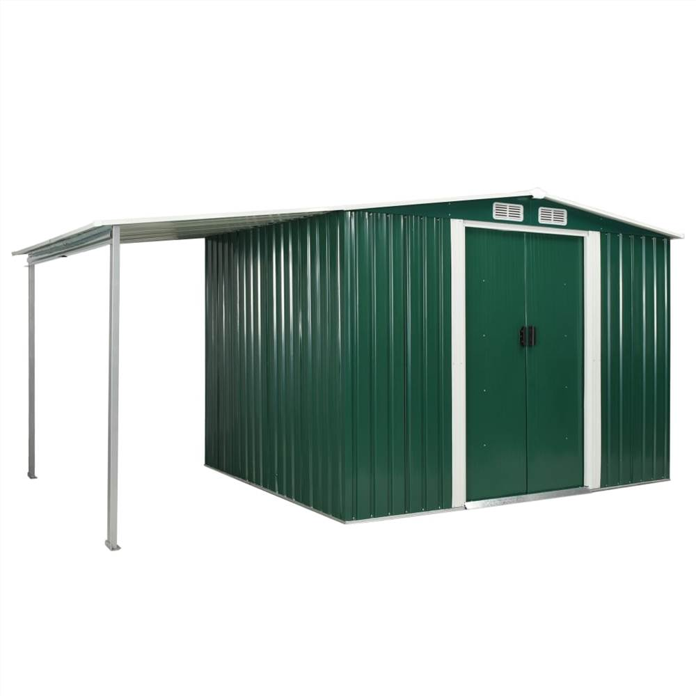 Garden Shed with Sliding Doors Green 386x205x178 cm Steel  - buy with discount