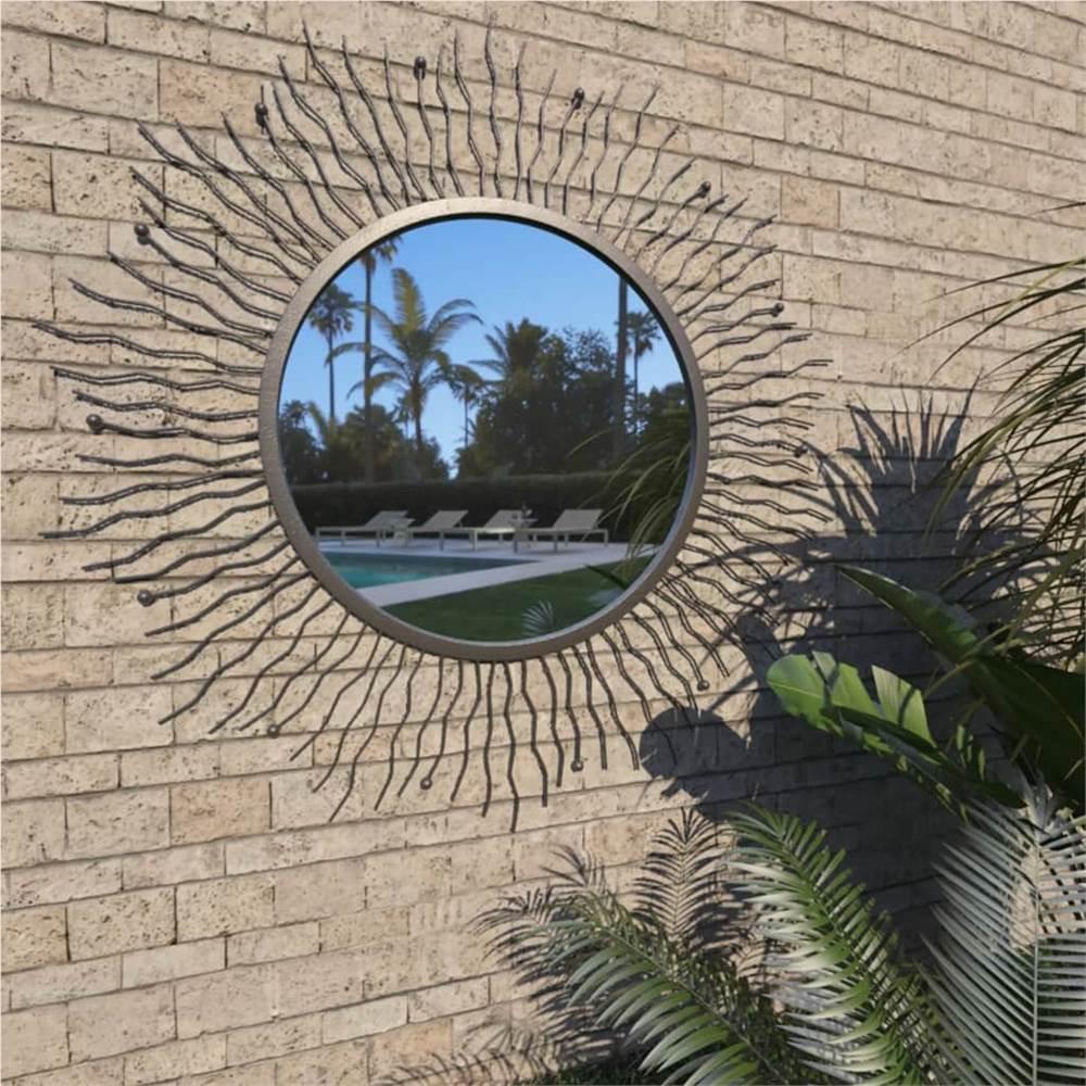Garden Wall Mirror Sunburst 80 cm Black