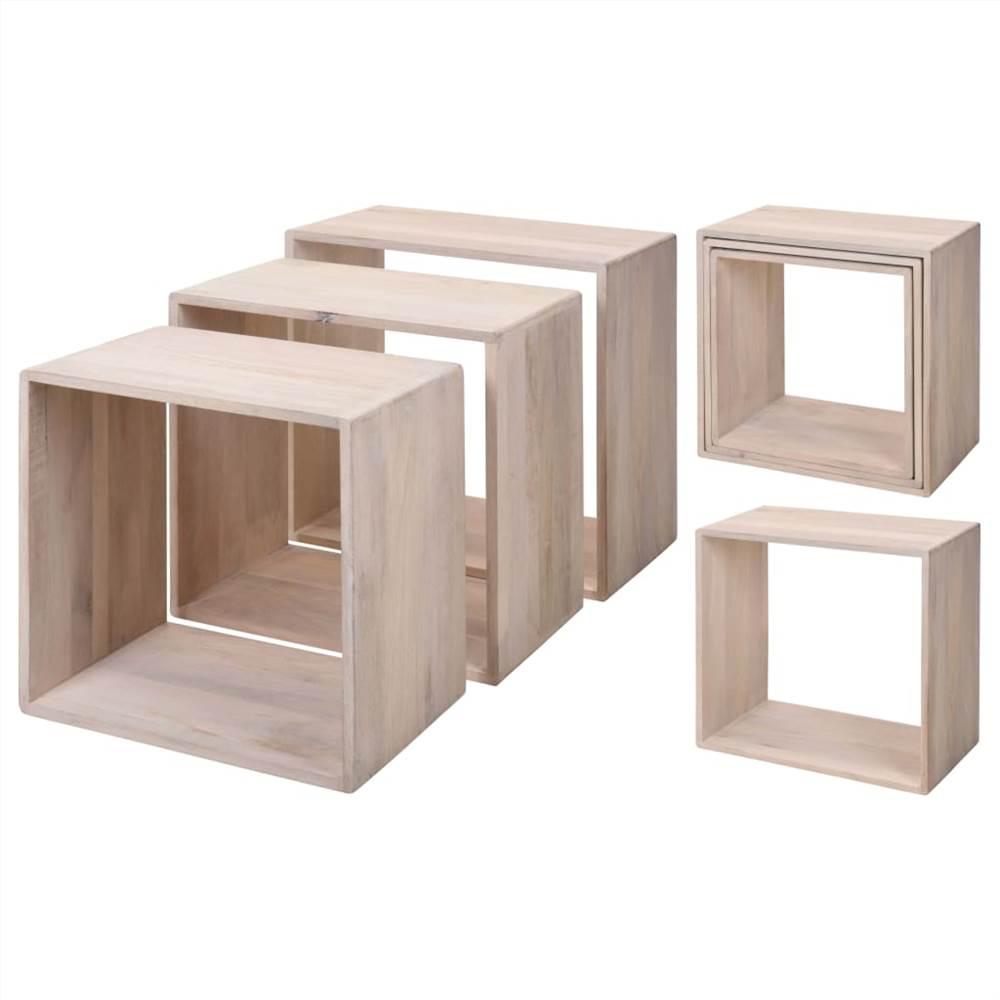 Maison & Styling Set de Table d'Appoint 3 pcs Bois de Manguier Blanc Lavé